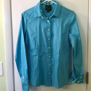Turquoise Button Front Blouse